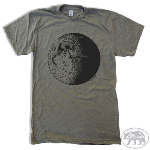 Mens MOON with Dinosaurs t shirt s m l xl xxl (+ Color Options) - Zen Threads