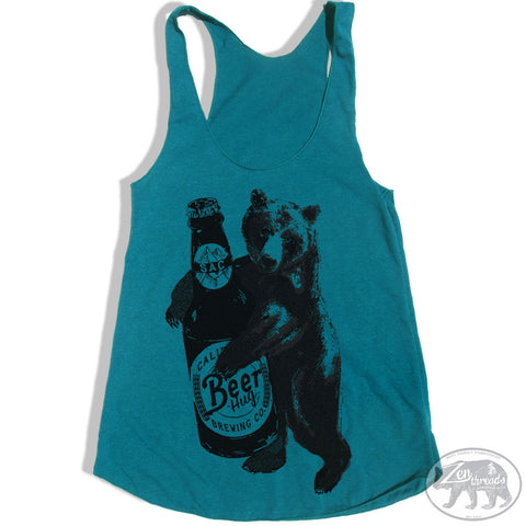 Women's BEER HUG -hand screen printed Tri-Blend Racerback Tank Top xs s m l xl xxl  (+Colors)