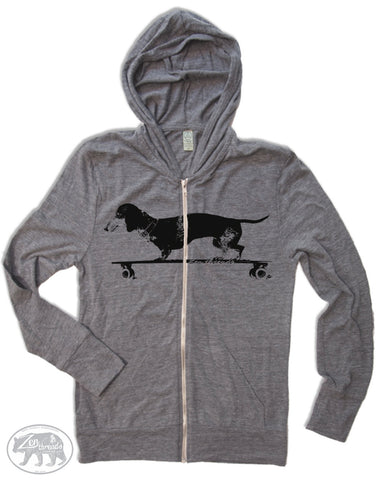Unisex DACHSHUND on a Longboard Triblend Zip Lightweight Hoody -  xs s m l xl (+ Colors)