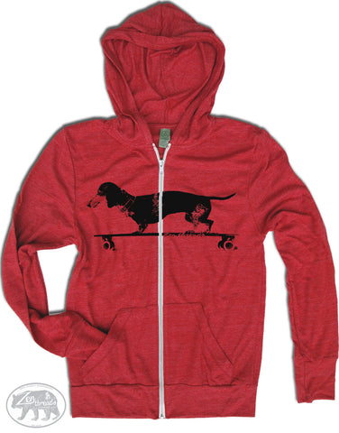 Unisex DACHSHUND on a Longboard Triblend Zip Lightweight Hoody -  xs s m l xl (+ Colors) - Zen Threads