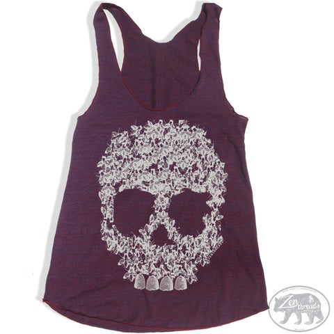 Women's BEE SKULL -hand screen printed Tri-Blend Racerback Tank Top xs s m l xl xxl  (Color Options)