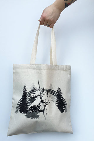 UNICORN- Eco-Friendly Market Tote Bag - Hand Screen printed