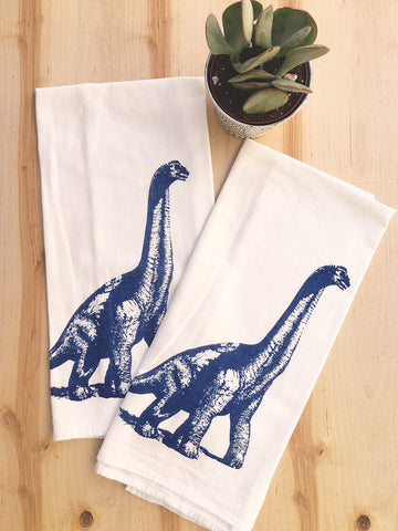 Towel Set of 2 - DINOSAUR - Multi-Purpose Flour Sack Bar Towels - Renewable Natural Cotton - Zen Threads