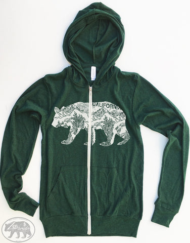 Unisex California Bear Triblend Zip Lightweight Hoody  xs s m l xl (+ Colors) - Zen Threads