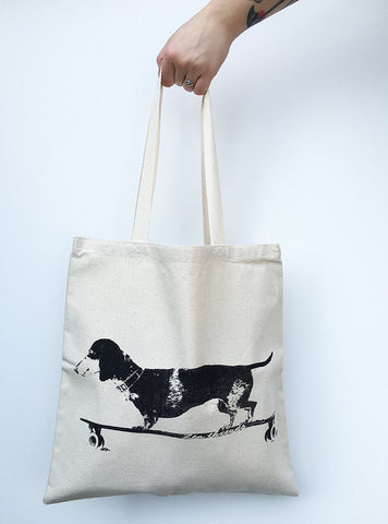 Longboard DACHSHUND- Eco-Friendly Market Tote Bag - Hand Screen printed - Zen Threads