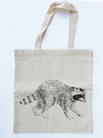 RACCOON- Eco-Friendly Market Tote Bag - Hand Screen printed