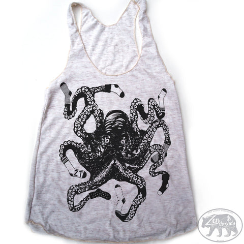 Women's SOCKTOPUS -hand screen printed Tri-Blend Racerback Tank Top xs s m l xl xxl  (+Colors)