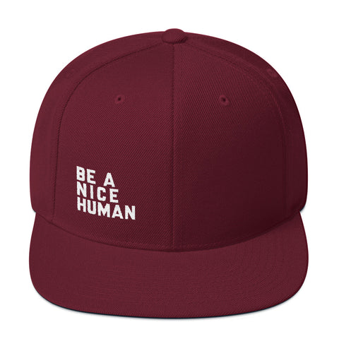 Be A Nice Human Snapback Hat Baseball Cap Flat Bill + more colors - Zen Threads