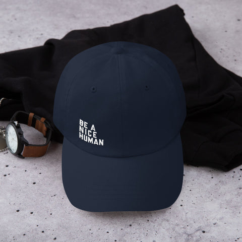 Be A Nice Human Dad hat in Navy - Zen Threads