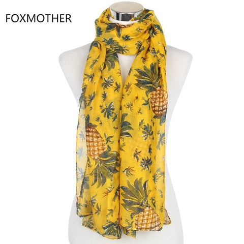 FOXMOTHER 2018 New Fashion Yellow Pineapple Infinity Scarf For Womens - Zen Threads