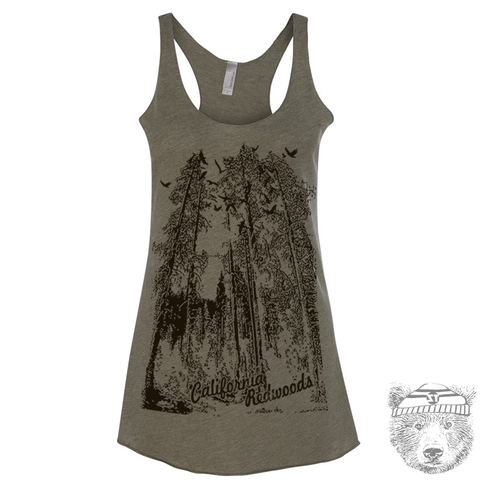 Women's California REDWOODS -hand screen printed Tri-Blend Racerback Tank Top xs s m l xl xxl  (+Colors)