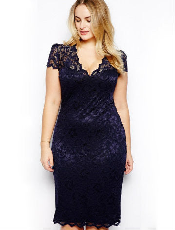 Midnight navy and lace dress