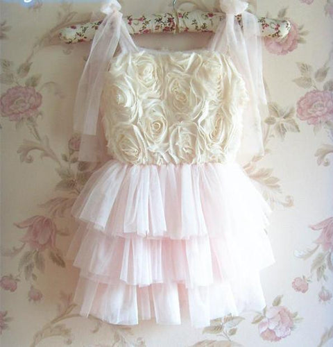 Girls Rose Tulle party dress
