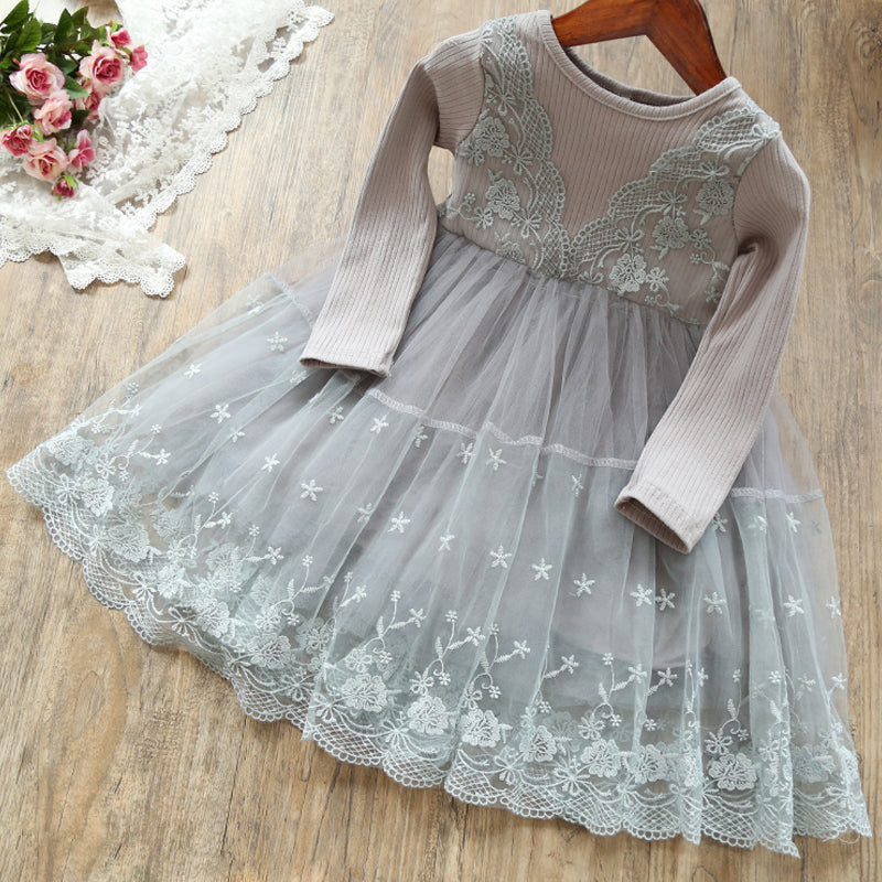 a24d20672aa76 Cotton Long Sleeve Girls Dress Autumn Toddler Girl Flower Embroidery  Dresses Winter Kids Party Princess Lace Ball Gown Clothing - My children's  ...