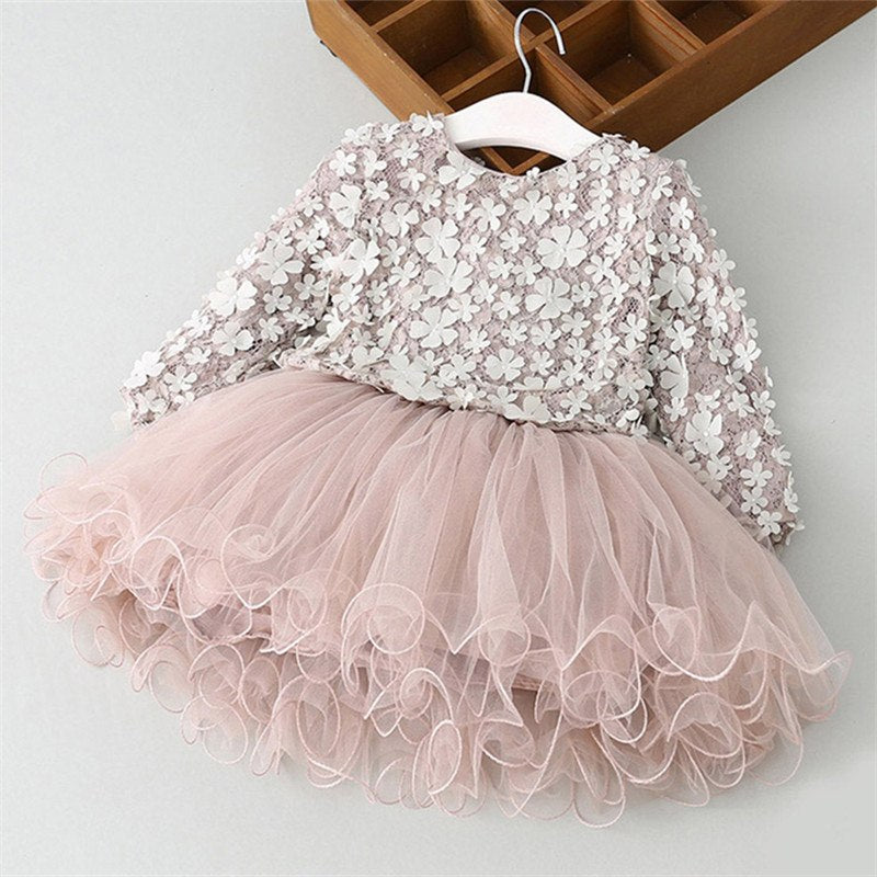 cfbaa5658f73e Cotton Long Sleeve Girls Dress Autumn Toddler Girl Flower Embroidery  Dresses Winter Kids Party Princess Lace Ball Gown Clothing
