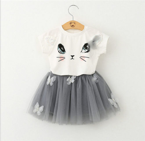 Cute Baby Girl Clothes Set 2017 Summer Cat Printed T-shirt Tops+Tutu Skirt 2PCS Princess Girls Outfits Children Suit 2-7Y