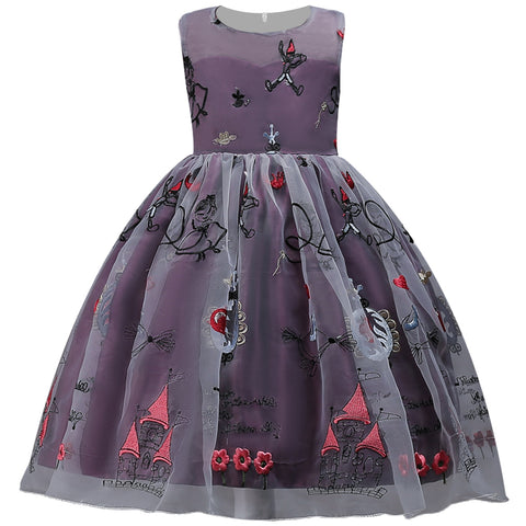 Fairytale castle embroidered party dress - Plum