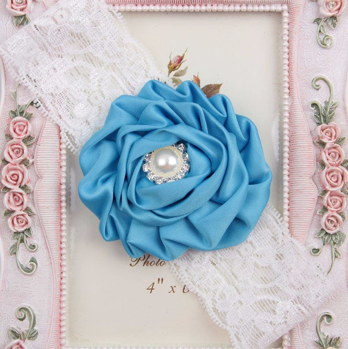 Jewel centred rose headband - Various colours