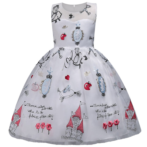 Fairytale castle embroidered party dress - White