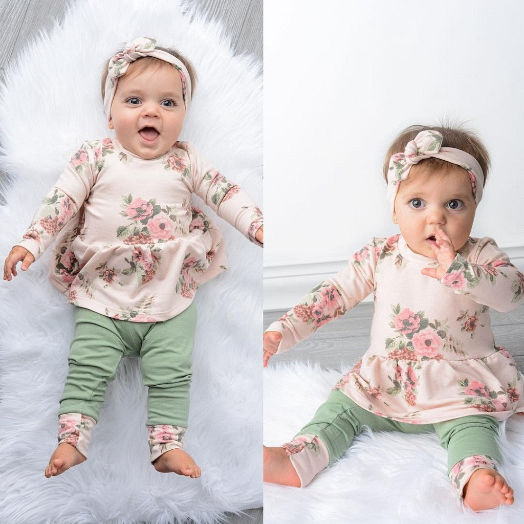 MUQGEW  chinese new year dress for girls Newborn Baby Girl Floral T shirt Tops Dress Pants Dot Leggings Clothes Set