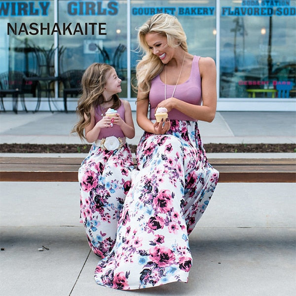 Mother daughter dresses Sleeveless Floral Long Dress Mother and daughter clothes Mom and daughter dress Family Matching Clothes