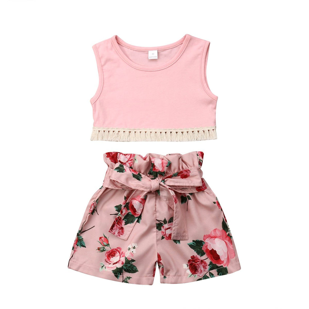 Girls Floral Outfit Pink Set