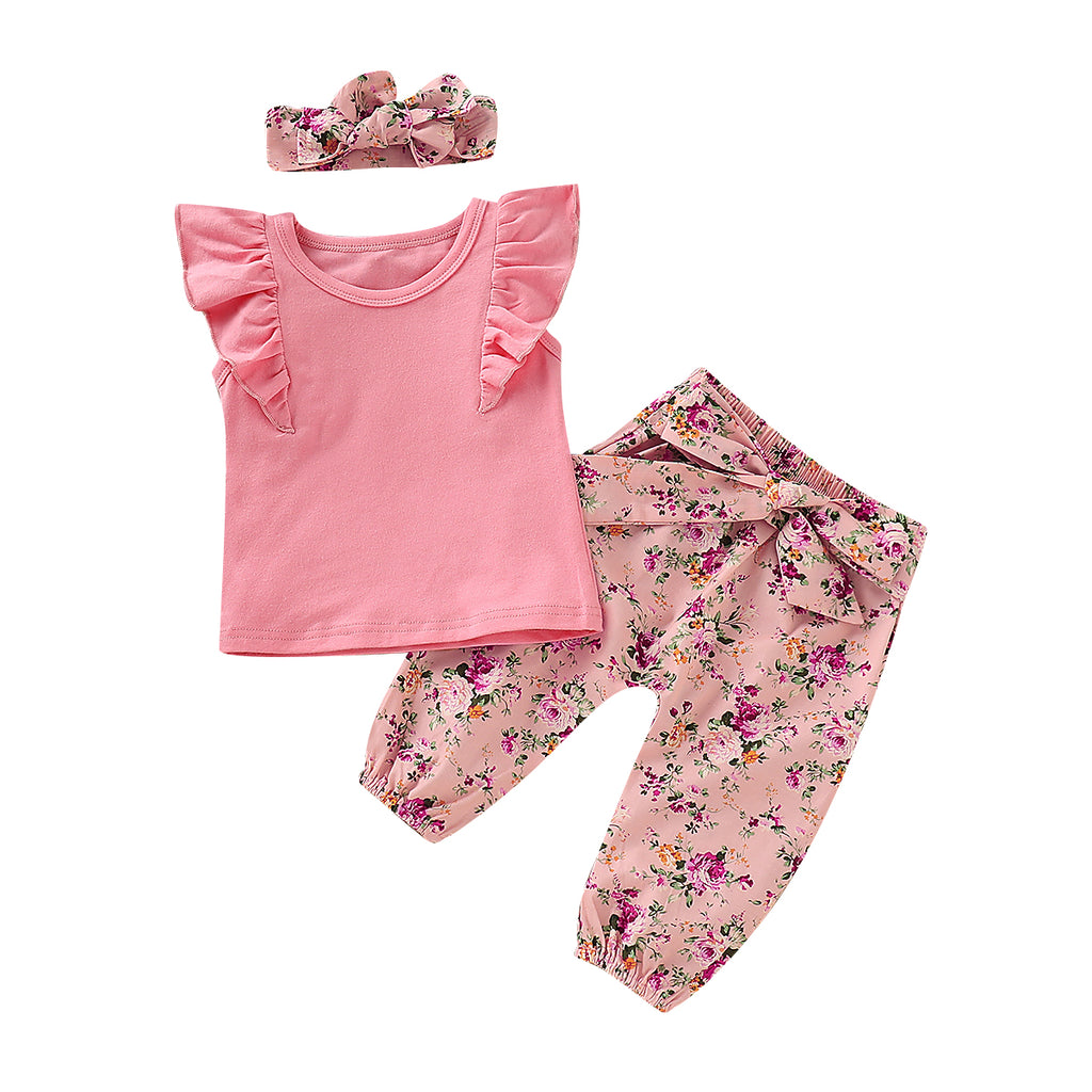 Pudcoco 2019 Summer Newborn Kid Baby Girl Clothes 3pcs Outfit Ruffle Pink Top T Shirt Floral Pants Clothes Set