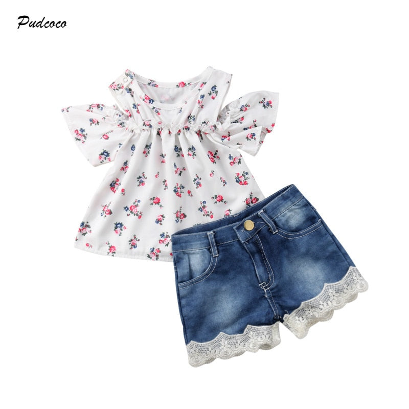 Pudcoco Fashion New Toddler Kids Baby Girl Off shoulder Floral Tops+Lace Denim Shorts Jeans 2PCS Outfits Clothing Set