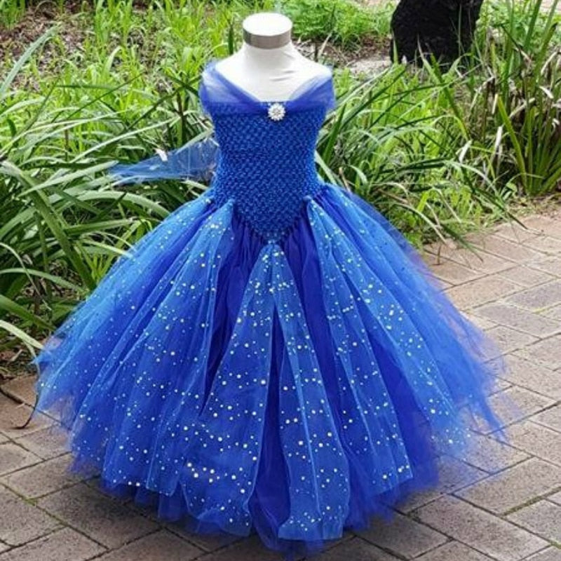 Turquoise blue Glittery Kids Girl Dress Wedding Party Photograph V- Shaped Girls Tutu Dress for Party Spark Tulle Girls Clothes