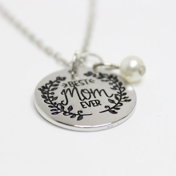 Yamily 10pcs/lot fashion necklace BEST MOM EVER Engraved Pendant Charms Necklace for Mother Mom Mother Day Gift Jewelry