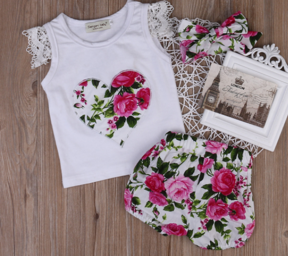 Floral top and headband. Floral shorts. (sold separately)