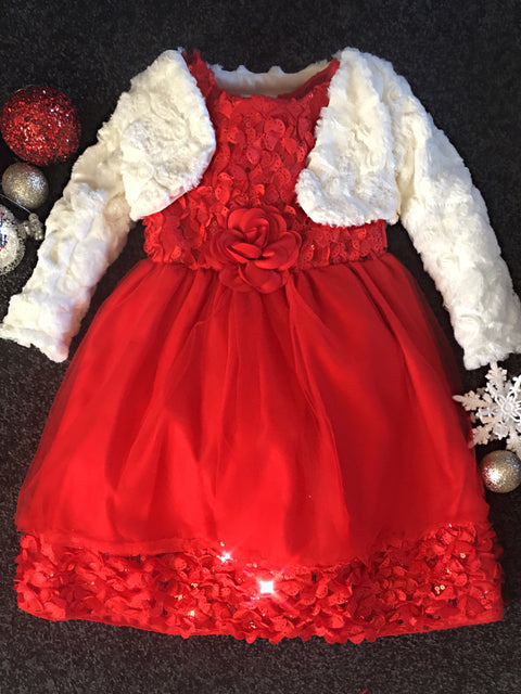 Luxury festive gown with cosy shrug 2 piece set ede5fcf6e859
