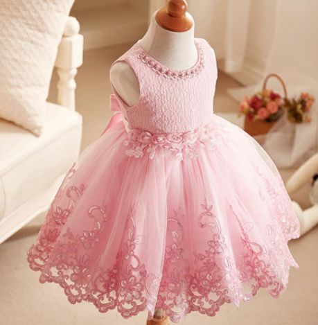 Pretty in pearl party dress- pink