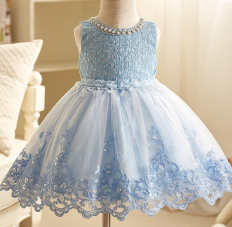 Pretty in pearl party dress- blue