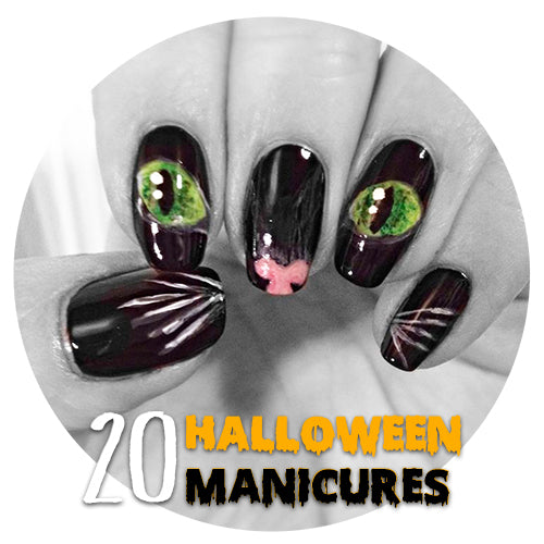 cat face manicure nails painted halloween 20