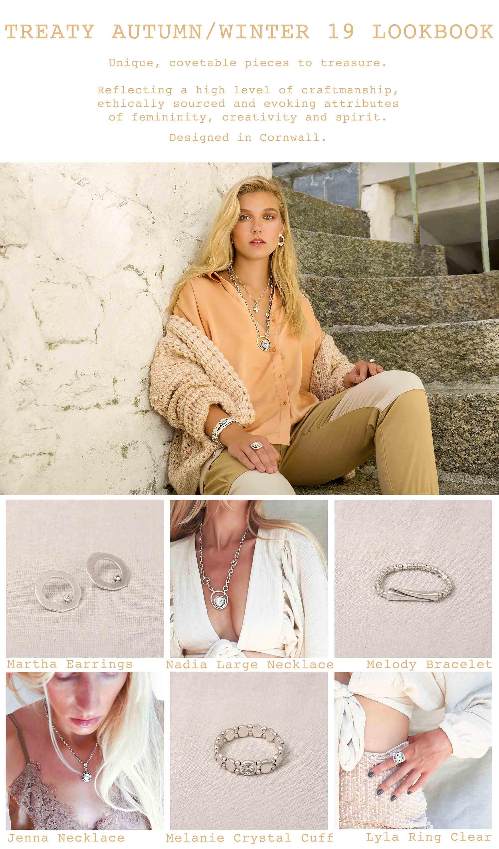 Treaty jewellery, fashion statement necklaces, earrings, rings, bracelets, autumn winter collection campaign 19.