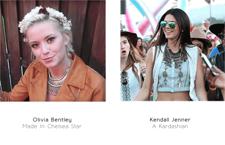 Olivia Bentley and Kendal Jenner some of the most popular names in show business wear Treaty Jewellery