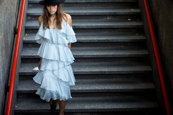 pastel blue ruffle steps ss16 street style fashion week