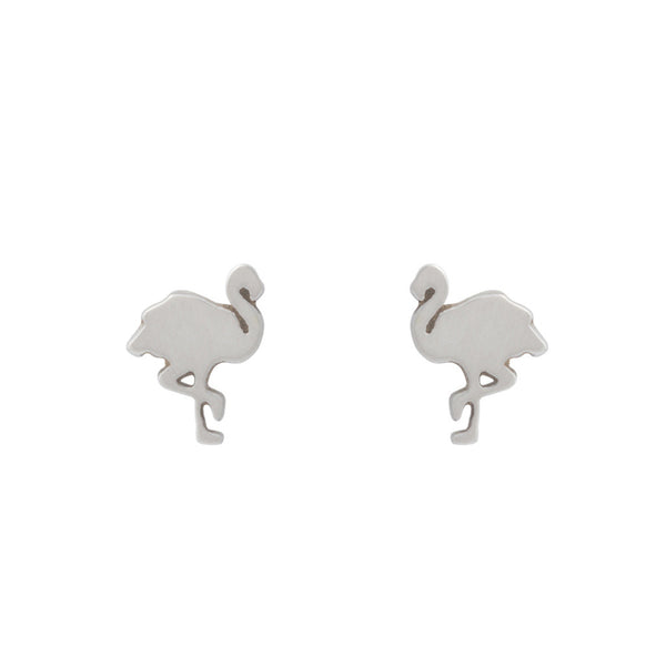 Flamingo earrings — Silver