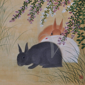 Three Rabbits. Vintage Japanese painting wall art. Fine art print