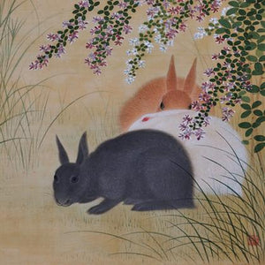 Three Rabbits. Antique Japanese painting. Fine art print