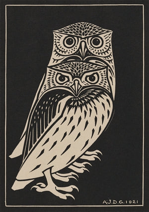 Two Owls. Vintage birds woodcut. Fine art print