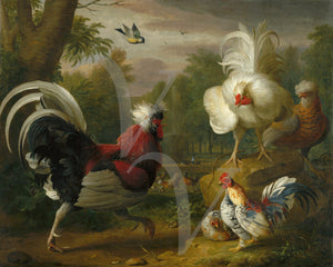 Vintage painting of roosters and chickens in a landscape. Fine art print