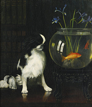 Dog with a goldfish bowl painting fine art print