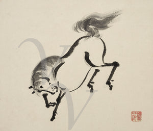 Japanese ink painting of a horse. Fine art print