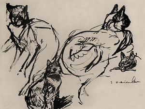 Ink drawing of cats by Theophile Steinlein. Fine art print