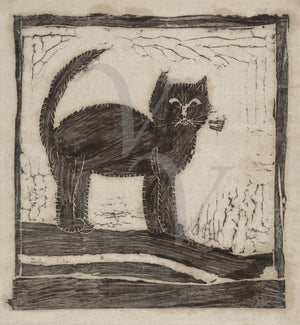 Black kitten, Vintage cat. Fine art print