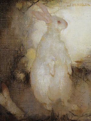 White rabbit standing painting. Fine art print