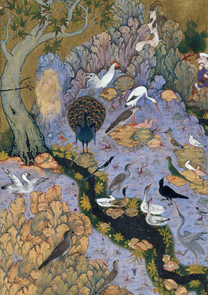 Mystical birds Persian painting. Fine art print