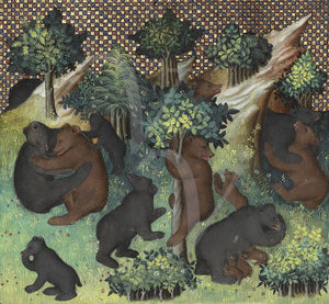 Medieval artwork of bears in a forest. Fine art print